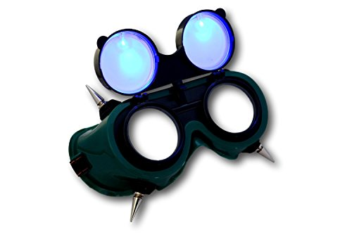 [TrYptiX Men's Spiked See Through LED Goggles Borderlands Style (One Size, Blue)] (Costume Land)