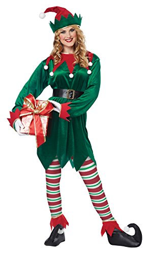 California Costumes Christmas Elf Adult, Green/Red, -