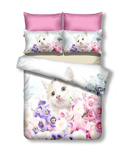 decokiing – Funda nórdica con 1 funda de almohada de 80 x 80 2 fundas de almohada 80 x 80 gato gatito Flores Flores Juego de cama fundas de cama de ...