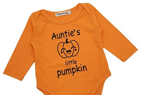 Omiky® Neugeborene Säuglingsbaby-Jungen-Mädchen-Buchstabe-Halloween-Kürbis-Spielanzug-Overall-Kleidung Orange