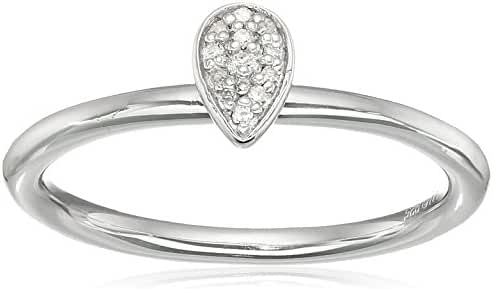 Sterling Silver Diamond Pear Shape Ring, Size 7