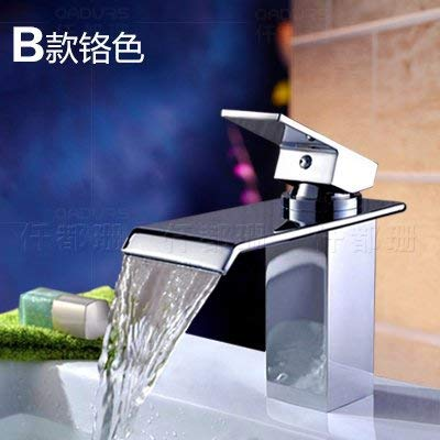 B) Chrome color Oudan A vanity area with water faucet basin waterfall faucet hot and cold full copper sink vanity faucet surface basin faucet Single Hole E, Chrome color plus high (color   C) Chrome color