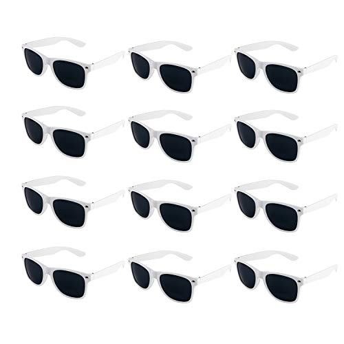 Super Z Outlet Plastic Vintage Retro Style Sunglasses Classic Shades Eyewear Party Prop Favors (12 Pairs) (White)]()