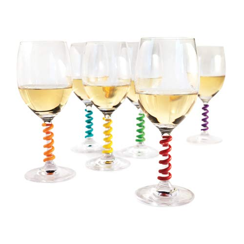 (Stem Spring: Set of 6 Multicolored coil shaped Silicone Wine Glass Marker Charms by TrueZoo)
