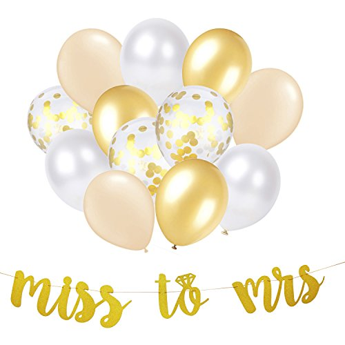 Bridal Shower Decorations Gold Decor Miss to MRS Banner & Balloon Set for Party