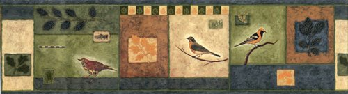 (Chesapeake Wallpaper Border with Birds and Grasshoppers on a Patchwork Background Ll50101b)