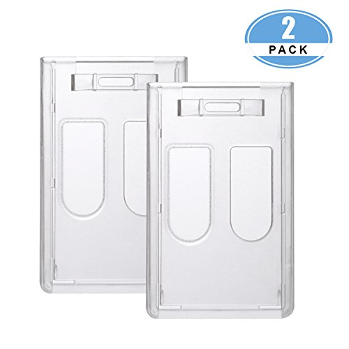 JUMI Badge Holder (Holds 2 Cards) ID Card Name 3x4 Inchs Vertical Hard Plastic Heavy Duty Transparent Polycarbonate 2 Pack