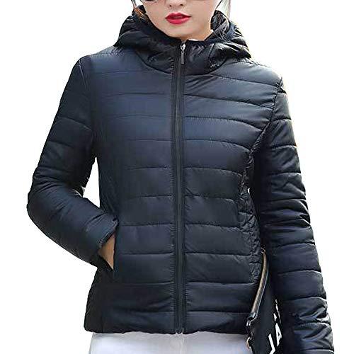 Cappotto Corto Donna Giacca Imbottito Inverno Nero Moda Piumino Giacche Cappuccio Con Trapuntato Kindoyo YI1qwa1