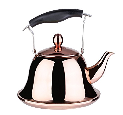 Onlycooker Whistling Tea Kettle Stainless Steel Stovetop Teakettle Sturdy Teapot for Tea Coffee Fast Boiling with Infuser Color Rose Gold Mirror Finish 2 Liter / 2.1 Quart