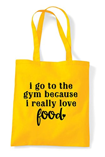 Love Really I Go Statement To Tote Yellow Shopper Gym Because Food The Bag CAC4qYw