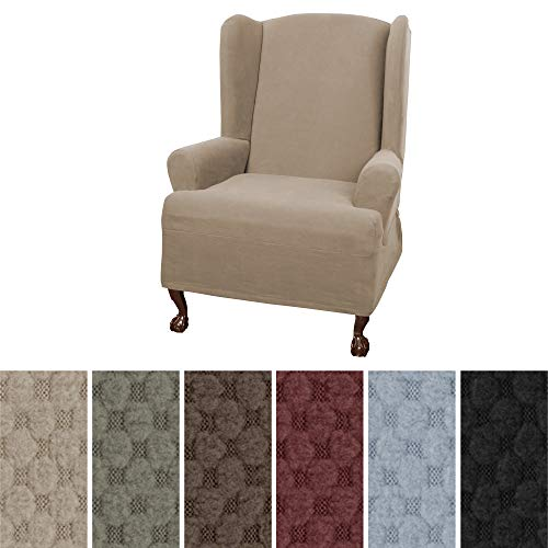 (Maytex Mills Pixel Ultra Soft Stretch Wing Back Arm Chair Furniture Cover Slipcover, Sand)