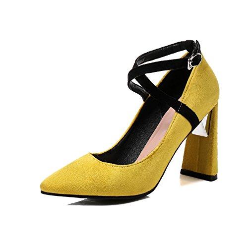 Elegante gruesas con tacón alto de luz baja solo zapatos novia zapatos de mujer yellow