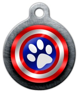 Dog Tag Shield - Canine America Shield Pet ID Tag for Dogs and Cats - Dog Tag Art - LARGE SIZE