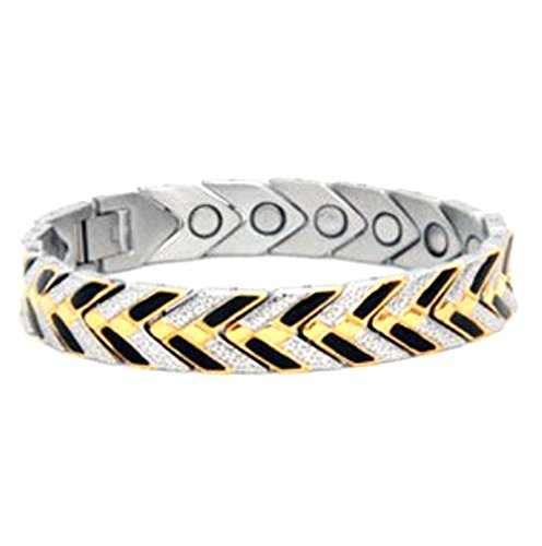 Black & Gold Stainles Steel Women's Magnetic Therapy Bracelet - 100% Non-allergenic