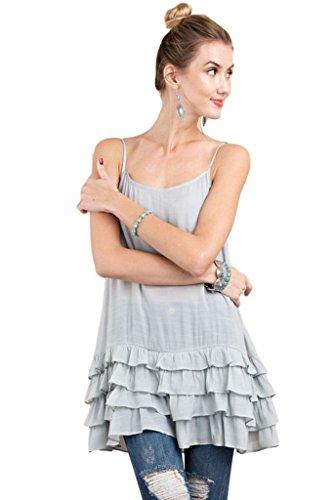 [Easel Women's Sleeveless Camisole and Tunic Extender with Tiered Ruffle Hem (Large, Washed Blue)] (Bottom Sleeveless)
