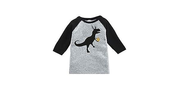 Dinosaur with Golden Easter Egg Toddler Raglan Easter Shirt