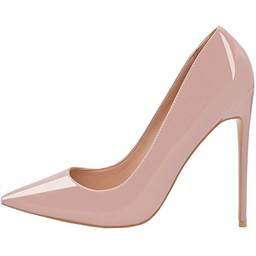 Women Patent Leather Pointed High-heeled Shoes Nude - 4