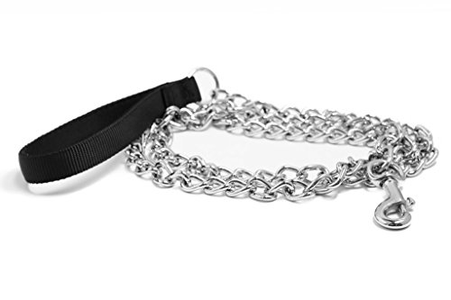 Pet Champion 5ft Chain Leash with Nylon Handle Easy Lead No Pull, Assorted Colors (Chain Dog Leashes)