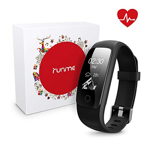 runme Fitness Tracker with Heart Rate Monitor Activity Tracker Smart Watch with Sleep Monitor IP67 Water Resistant Walking Pedometer with Call/SMS Remind for iOS/Android BlackGift Package