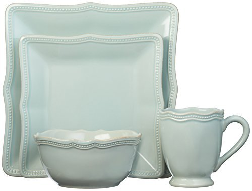 (Lenox French Perle Bead Square 4 Piece Place Setting, Ice Blue)