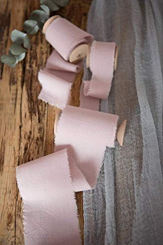Gauze Ribbon - Blush muslin cotton frayed edges hand dyed ribbon 1'' 5 yards, Pale pink wedding invitation ribbon, favors wrap and bouquet supplies