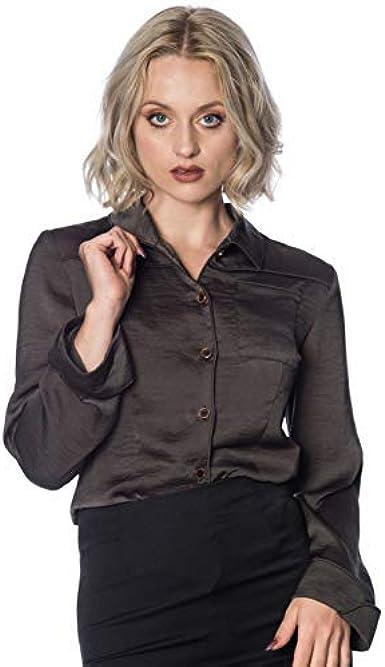 Banned Apparel Toni Retro Años 80 Blusa de Las Señoras Camisa de Cuello - Gris, L: Amazon.es: Ropa y accesorios