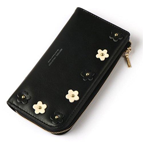 Femelle à Hasp Main Zipper Parure black Sac Pour Purse long Applique Femmes Pocket Portefeuille Portefeuille Crédit D'embrayage Titulaire Fille de Carte amp; Mode g04vp7zw