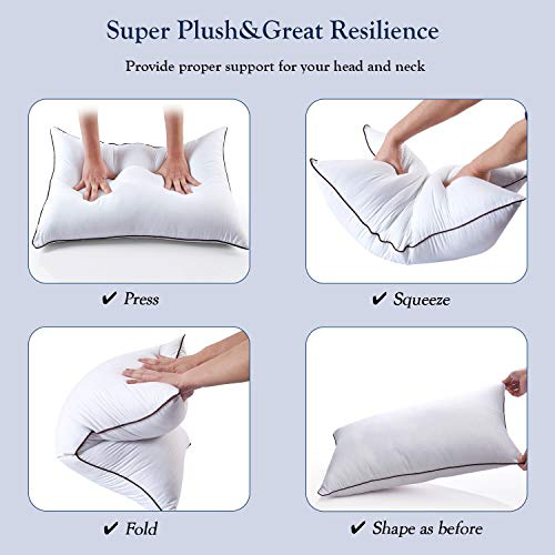 2 Pack Bed Pillows for Sleeping-Hypoallergenic Pillow for Side and Back Sleeper Hotel Pillows Down Alternative Sleeping Pillows with Super Soft Plush Fiber Fill-Queen Size