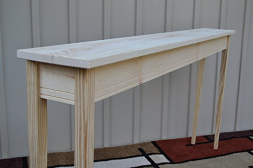 """Unfinished 60"""" Narrow Console Sofa Foyer Shaker Square Edge Pine Table Tapered or Straight Block Leg"""