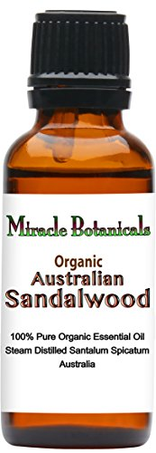 Miracle Botanicals Organic Australian Sandalwood Essential Oil - 100% Pure Santalum Spicatum - 5ml, 10ml, and 30ml Sizes - Therapeutic Grade - 30ml/1oz. by Miracle Botanicals