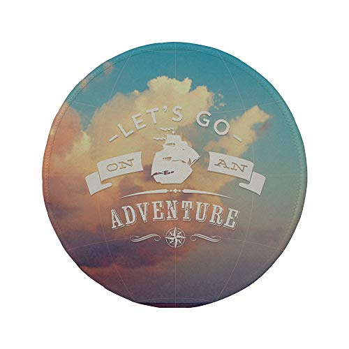 Non-Slip Rubber Round Mouse Pad,Adventure,Open Sky with Sublime Cloud Inspiring Quote Lets Go on an Adventure Print Decorative,Sky Blue Cream,7.87