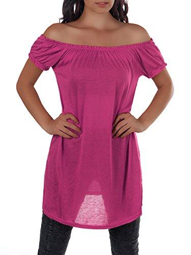 Diva-Jeans Damen Top mit Carmenausschnitt, Elegant und bequemn sitzend, in Vielen Farben Erhältlich, Größe 34-38 Pink