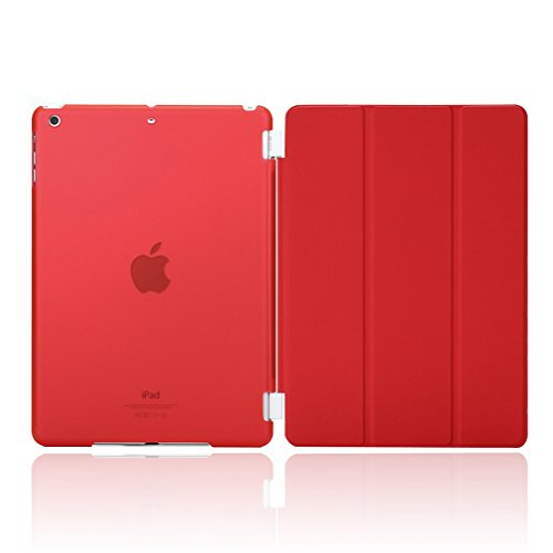 Granvela® Ultra-thin Magnetic Smart Cover & Clear Back Case for Ipad Mini (2nd Generation) + Screen Protector + Stylus + Cleaning Cloth + Dust-proof Plug-- Red