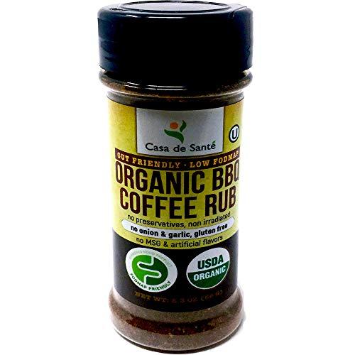 Organic Low FODMAP Certified Paleo Seasoning (BBQ Coffee Rub) - No Onion No Garlic, Gluten-Free, Low Sodium, No Carb, Keto, Paleo, Kosher, All Natural, Non GMO, Non Irradiated - Casa de Sante