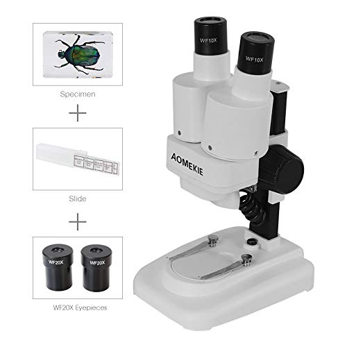 Aomekie Compound Binocular Microscopes Kids Students School Science Portable Stereo Microscope 40X WF20x Eyepieces 2X Objective 40X Magnification LED Light Source by AOMEKIE