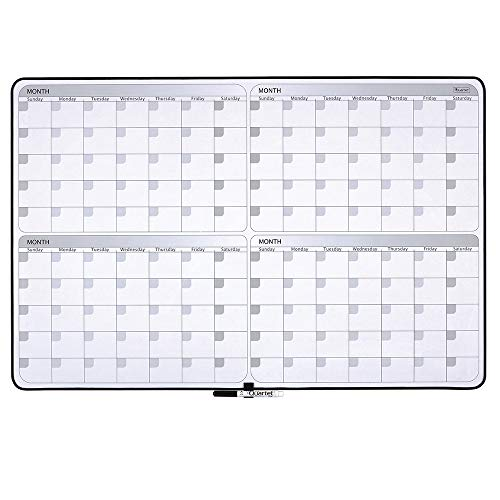 Quartet Whiteboard Planner - 4-Month Planning White Board - Dry Erase Board - 23