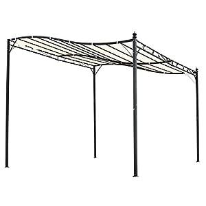 Outsunny Pérgola de Jardín 3×3 m Cenador con Toldo y 8 Orificios de Drenaje para Patio Terraza Metal y Poliéster 180 g/m² Resistente Crema