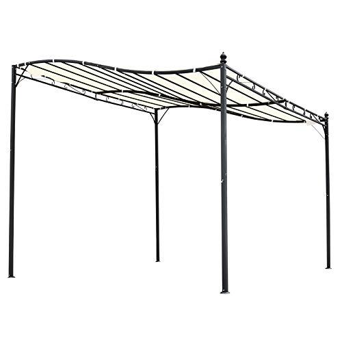 419rtZ4yRUL. SS500 ✅ALTA CALIDAD: pérgola con marco de acero de buen acabado y antioxidante, duradero y estable. Tejido de tela poliéster con revestimiento PA resistente a la intemperie, a los rayos UV y al agua. ✅MULTIUSOS: gazebo cenador, adecuado para jardín, terraza, patio y actividades al aire libre, se puede usar también fijándolo en la pared, ofrece buena estabilidad. ✅DISEÑO ELEGANTE: Su diseño elegante de techo curvo y onda decorativa en el marco de acero es combinable en cualquier sitio.
