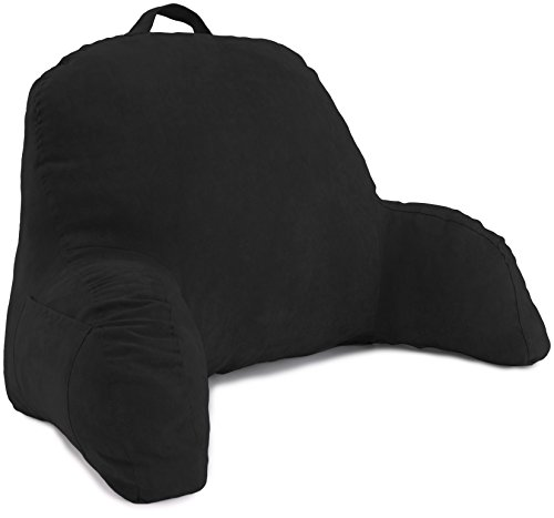 - Deluxe Comfort Microsuede Bed Rest - Backrest Pillow with Arms - Bed Rest Pillow - Reading Bedrest Lounger - Sitting Support Pillow - Soft But Firmly-Stuffed Fiberfill - Reading Pillow, Black
