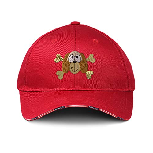 (American Flag Hat Dog with Cross Bones Embroidery Design Cotton Patriotic USA Baseball Cap Strap Closure Red Design Only)
