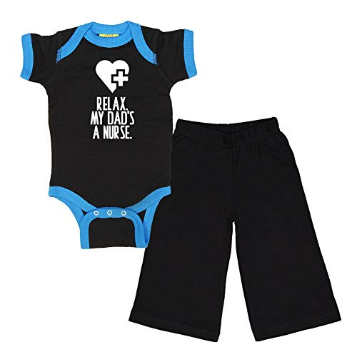 (Mashed Clothing - Relax. My Dad's A Nurse. - Baby Ringer Bodysuit & Pant Gift Set (Black/Cobalt Ringer, Black Pant, 6)