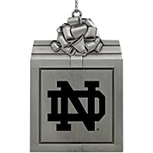 University of Notre Dame-Pewter Christmas Holiday Present Ornament-Silver