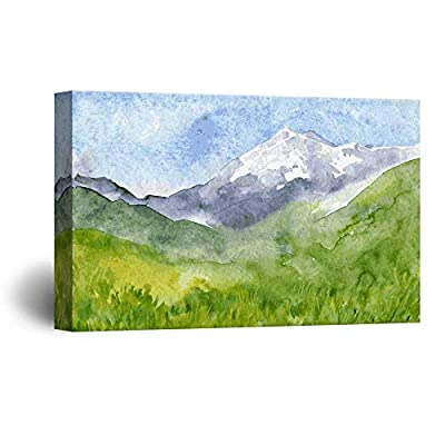 Watercolor Style Landscape Painting a Spring Mountain Valley Green Grass 24