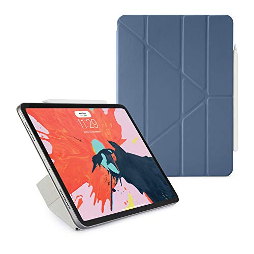 Pipetto New 2018 Smooth 11 inch iPad Pro Folio Pencil Case Pencil 2 Sync and Charge Defender Stand Shell Cover for Apple 5 in 1 Folding Position with Auto Sleep Wake Function - Navy