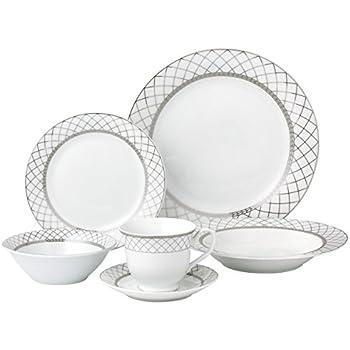 Lorren Home Trends 24 Piece Porcelain Dinnerware Set Verona Silver  sc 1 st  Amazon.com & Amazon.com | Lorren Home Trends 24 Piece Porcelain Dinnerware Set ...