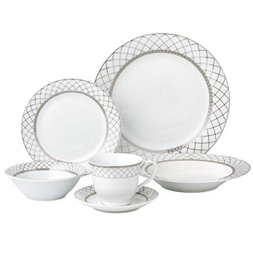 Lorren Home Trends 24 Piece Porcelain Dinnerware Set Verona, Silver  – LH419