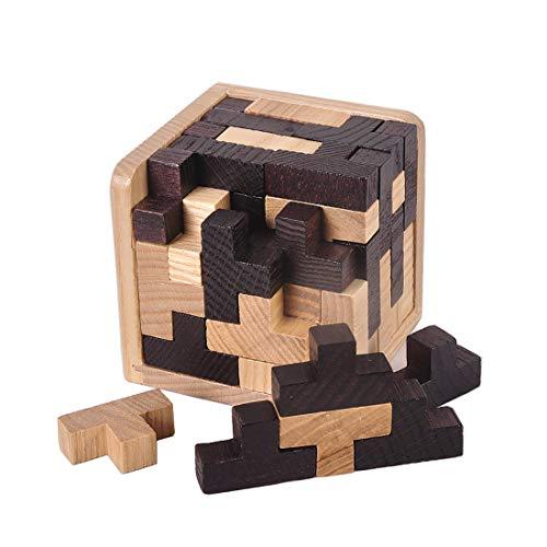 KINGOU Wooden Tetris Puzzle Cube 3D Brain Teaser Puzzles 54 Pieces T-Shaped Blocks Creative Educational Toy
