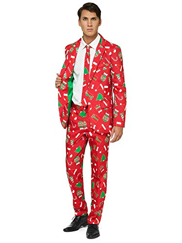OFFSTREAM Ugly Christmas Suits for Men in Different Prints - Xmas Sweater Costumes Include Jacket Pants & Tie