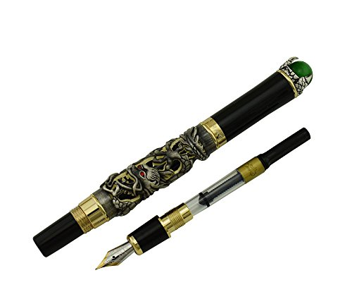 Jinhao Ancient Gray Dragon Playing Pearl Fountain Pen Green Jewelry with Pen Pouch