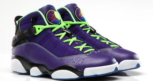 (Jordan Nike Air 6 Rings Bel Air Mens Basketball Shoes 322992-515 Court Purple Club Pink-Black-Flash Lime 9.5 M US)